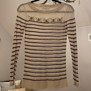 Jeweled striped long sleeved shirt